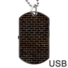 Brick1 Black Marble & Brown Stone Dog Tag Usb Flash (two Sides) by trendistuff