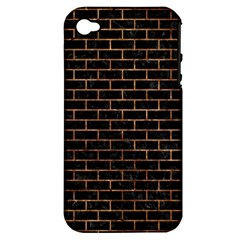 Brick1 Black Marble & Brown Stone Apple Iphone 4/4s Hardshell Case (pc+silicone) by trendistuff