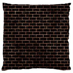Brick1 Black Marble & Brown Stone Large Flano Cushion Case (one Side) by trendistuff