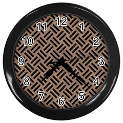Woven2 Black Marble & Brown Colored Pencil (r) Wall Clock (black) by trendistuff