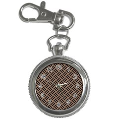 Woven2 Black Marble & Brown Colored Pencil (r) Key Chain Watch by trendistuff