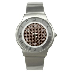 Woven2 Black Marble & Brown Colored Pencil (r) Stainless Steel Watch by trendistuff