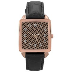 Woven2 Black Marble & Brown Colored Pencil (r) Rose Gold Leather Watch  by trendistuff