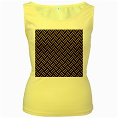 Woven2 Black Marble & Brown Colored Pencil Women s Yellow Tank Top by trendistuff