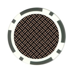 Woven2 Black Marble & Brown Colored Pencil Poker Chip Card Guard by trendistuff