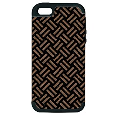Woven2 Black Marble & Brown Colored Pencil Apple Iphone 5 Hardshell Case (pc+silicone) by trendistuff