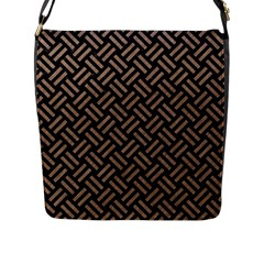 Woven2 Black Marble & Brown Colored Pencil Flap Closure Messenger Bag (l) by trendistuff