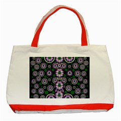 Fantasy Flower Forest  In Peacock Jungle Wood Classic Tote Bag (red) by pepitasart