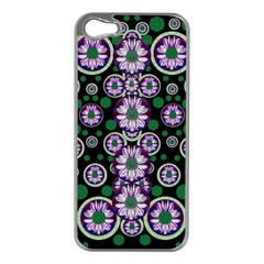 Fantasy Flower Forest  In Peacock Jungle Wood Apple Iphone 5 Case (silver) by pepitasart