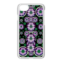 Fantasy Flower Forest  In Peacock Jungle Wood Apple Iphone 7 Seamless Case (white) by pepitasart