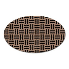 Woven1 Black Marble & Brown Colored Pencil (r) Magnet (oval) by trendistuff