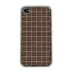 Woven1 Black Marble & Brown Colored Pencil (r) Apple Iphone 4 Case (clear) by trendistuff