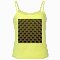 Woven1 Black Marble & Brown Colored Pencil Yellow Spaghetti Tank by trendistuff