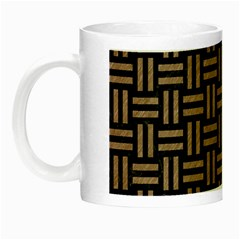 Woven1 Black Marble & Brown Colored Pencil Night Luminous Mug by trendistuff