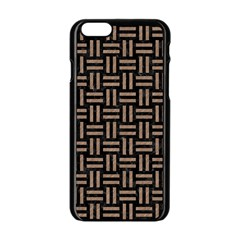 Woven1 Black Marble & Brown Colored Pencil Apple Iphone 6/6s Black Enamel Case by trendistuff