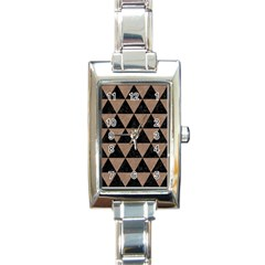 Triangle3 Black Marble & Brown Colored Pencil Rectangle Italian Charm Watch by trendistuff