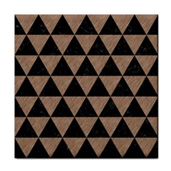 Triangle3 Black Marble & Brown Colored Pencil Tile Coaster by trendistuff
