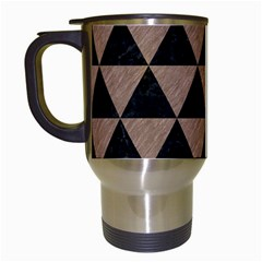 Triangle3 Black Marble & Brown Colored Pencil Travel Mug (white) by trendistuff