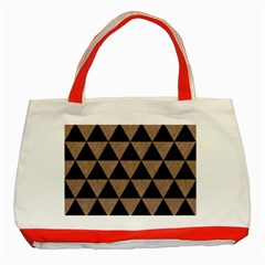 Triangle3 Black Marble & Brown Colored Pencil Classic Tote Bag (red) by trendistuff