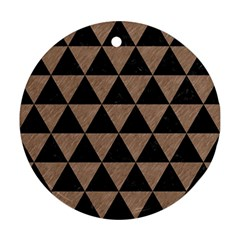 Triangle3 Black Marble & Brown Colored Pencil Round Ornament (two Sides) by trendistuff