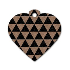 Triangle3 Black Marble & Brown Colored Pencil Dog Tag Heart (one Side) by trendistuff