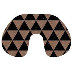 Triangle3 Black Marble & Brown Colored Pencil Travel Neck Pillow by trendistuff