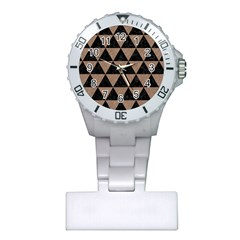 Triangle3 Black Marble & Brown Colored Pencil Plastic Nurses Watch by trendistuff