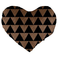 Triangle2 Black Marble & Brown Colored Pencil Large 19  Premium Flano Heart Shape Cushion by trendistuff