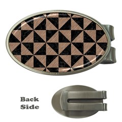 Triangle1 Black Marble & Brown Colored Pencil Money Clip (oval) by trendistuff