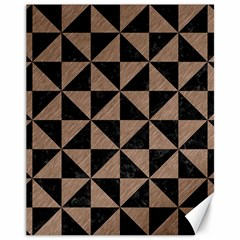Triangle1 Black Marble & Brown Colored Pencil Canvas 11  X 14  by trendistuff