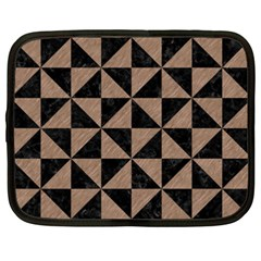 Triangle1 Black Marble & Brown Colored Pencil Netbook Case (xxl) by trendistuff