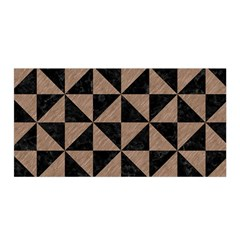 Triangle1 Black Marble & Brown Colored Pencil Satin Wrap