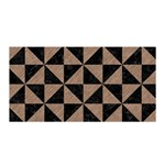 TRIANGLE1 BLACK MARBLE & BROWN COLORED PENCIL Satin Wrap Front