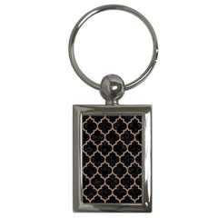 Tile1 Black Marble & Brown Colored Pencil Key Chain (rectangle)