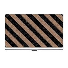 Stripes3 Black Marble & Brown Colored Pencil (r) Business Card Holder by trendistuff