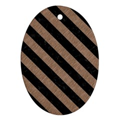 Stripes3 Black Marble & Brown Colored Pencil (r) Oval Ornament (two Sides) by trendistuff
