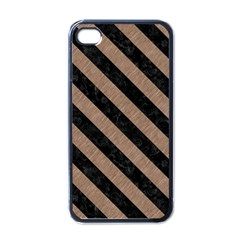 Stripes3 Black Marble & Brown Colored Pencil (r) Apple Iphone 4 Case (black) by trendistuff