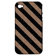 Stripes3 Black Marble & Brown Colored Pencil (r) Apple Iphone 4/4s Hardshell Case (pc+silicone) by trendistuff