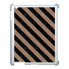 Stripes3 Black Marble & Brown Colored Pencil (r) Apple Ipad 3/4 Case (white) by trendistuff