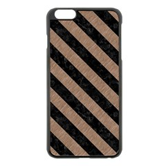 Stripes3 Black Marble & Brown Colored Pencil (r) Apple Iphone 6 Plus/6s Plus Black Enamel Case by trendistuff