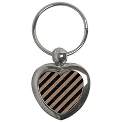 Stripes3 Black Marble & Brown Colored Pencil Key Chain (heart)