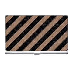 Stripes3 Black Marble & Brown Colored Pencil Business Card Holder by trendistuff