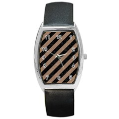 Stripes3 Black Marble & Brown Colored Pencil Barrel Style Metal Watch by trendistuff