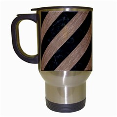 Stripes3 Black Marble & Brown Colored Pencil Travel Mug (white) by trendistuff