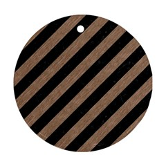 Stripes3 Black Marble & Brown Colored Pencil Round Ornament (two Sides) by trendistuff