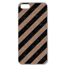 Stripes3 Black Marble & Brown Colored Pencil Apple Seamless Iphone 5 Case (clear) by trendistuff