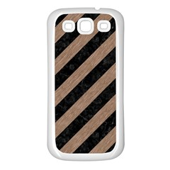 Stripes3 Black Marble & Brown Colored Pencil Samsung Galaxy S3 Back Case (white) by trendistuff
