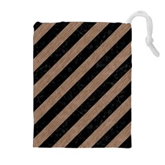 Stripes3 Black Marble & Brown Colored Pencil Drawstring Pouch (xl) by trendistuff