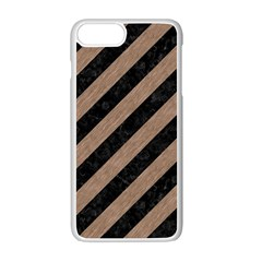Stripes3 Black Marble & Brown Colored Pencil Apple Iphone 7 Plus White Seamless Case