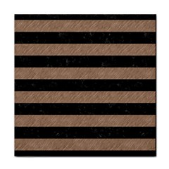 Stripes2 Black Marble & Brown Colored Pencil Tile Coaster by trendistuff